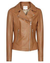 Reiss Brown Leather Biker Jacket