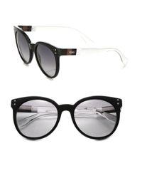 Fendi - Black Colorblocked 55mm Round Sunglasses - Lyst