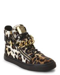 Giuseppe Zanotti - Multicolor Leopard & Black London Chain Sneakers - Lyst