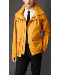 Burberry | Orange Silk Blend Jacket With Packaway Hood for Men | Lyst