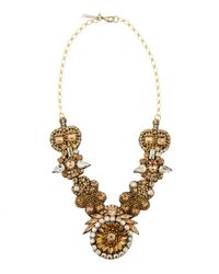 Deepa Gurnani | Multicolor Golden Floral Medallion Necklace | Lyst