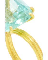 "Marie-hélène De Taillac Blue 22K Yellow Gold And Aquamarine ""Diva"" Ring"