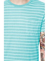 French Connection - Blue Stripe Crew Neck Regular Fit T-shirt for Men - Lyst