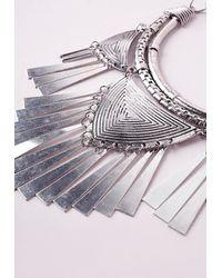 Missguided - Metallic Metal Tassel Tribal Collar Necklace - Lyst