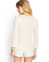 Forever 21 - Natural 3/4 Sleeve Linen Top - Lyst