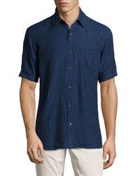 Neiman Marcus   Blue Short-sleeve Linen Chambray Shirt for Men   Lyst