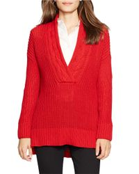 Lauren by Ralph Lauren | Blue Petite Ribbed Cotton Sweater | Lyst