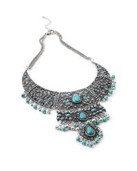 Forever 21 - Blue Faux Stone Filigree Necklace - Lyst