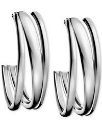 Calvin Klein   Gray Stainless Steel Polished Hoop Earrings   Lyst