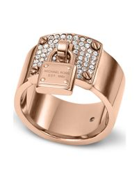 Michael Kors | Pink Rose Goldtone Crystal Plaque and Padlock Ring | Lyst