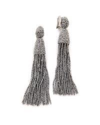 Oscar de la Renta - Metallic Classic Long Tassel Earrings - Lyst