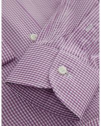 Jules B - Purple Micro Gingham Shirt for Men - Lyst