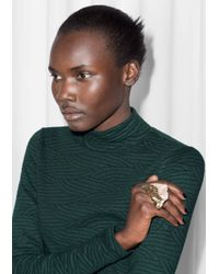 & Other Stories | Metallic Chunky Rock Double Ring | Lyst