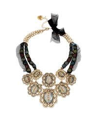 Betsey Johnson - Metallic Goldtone Meshwrapped Multicrystal and Oval Stone Frontal Necklace - Lyst