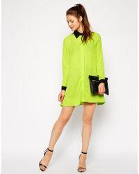 AX Paris - Yellow Shirt Dress with Contrast Collar - Lyst