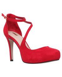 Carvela Kurt Geiger Red Antler Platform Asymmetric Cut Away Court Shoes