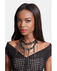 Lela Rose | Black Crystal Chain Necklace | Lyst