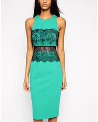 ASOS - Green Crop Top Lace Scuba Dress - Lyst