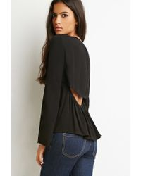 Forever 21 - Black Cutout-back Embroidered Top You've Been Added To The Waitlist - Lyst