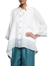 Eskandar - Blue Button-front Ombre-striped Linen Top - Lyst
