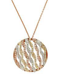 Effy Metallic 14 Kt. Gold Tri Color Diamond Pendant Necklace