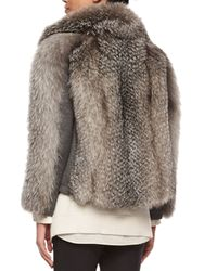 Brunello Cucinelli - Gray Fox Fur & Wool-blend Coat - Lyst