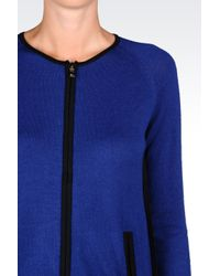 Armani Jeans | Blue Full Zip Cardigan In Wool Blend | Lyst