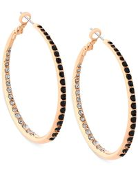 Guess | Metallic Gold-tone Multi-crystal Pavé Hoop Earring | Lyst