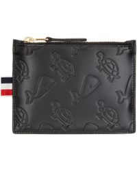 Thom Browne Black Whale And Turtle Embossed Pouch for men