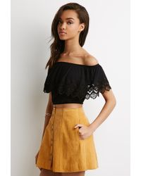 Forever 21 | Black Crocheted Flounce Off-the-shoulder Top You've Been Added To The Waitlist | Lyst