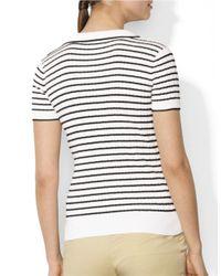 Lauren by Ralph Lauren | White Striped V-neck Shirt | Lyst