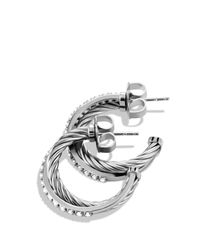 David Yurman | Metallic Crossover Small Hoop Earrings With Diamonds | Lyst