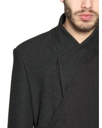Tom Rebl Black Wool Viscose Brushed Wool Coat for men
