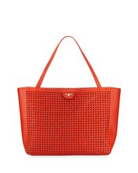 Tory Burch Romi Woven Leather Tote Bag Red