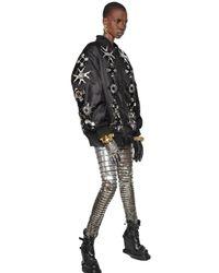 KTZ Black Mirror Embellished Nylon Bomber Jacket for men