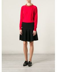 Simone Rocha Red Embellished Neck Sweater