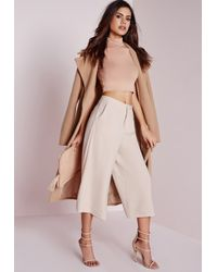 Missguided | Natural Woven Culottes Nude | Lyst
