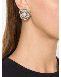 Oscar de la Renta - White Pearl Button Clip Earrings - Lyst