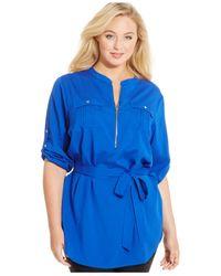 Calvin Klein | Blue Plus Size Zip-front Tied-waist Tunic Top | Lyst
