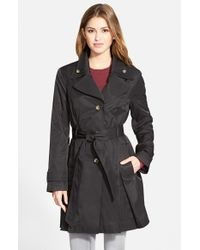 London Fog - Black Double Collar Belted Trench Coat - Lyst