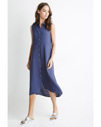Forever 21 Blue Button-down Midi Dress