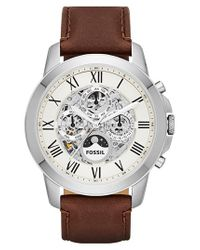 Fossil | Brown 'grant' Automatic Leather Strap Watch for Men | Lyst