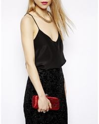 Love Moschino Red Crystal Encrusted Satin Box Clutch Bag