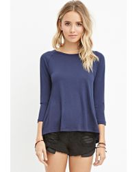 Forever 21 - Blue Ribbed-panel Slub Knit Top - Lyst