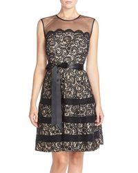 Betsy & Adam | Black Illusion Yoke Lace Fit & Flare Dress | Lyst
