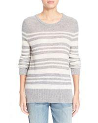 LOMA Gray 'kris' High/low Stripe Cashmere Sweater