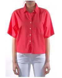 Band of Outsiders Red Batiste Cropped Button Up Shirt