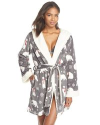 Pj Salvage - Gray Fleece Short Robe - Lyst