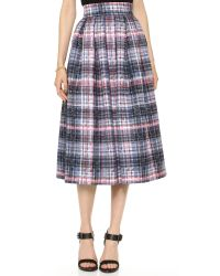 Nicholas - Multicolor Digital Check Silk Pleat Skirt  - Lyst