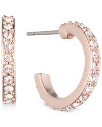 Givenchy Metallic Rose Gold-tone Crystal Huggie Hoop Earrings